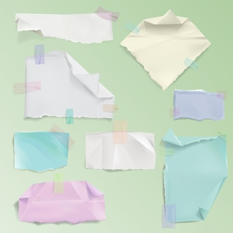Ilustración de desechos de página de papel de hojas rasgadas en blanco realistas o fragmentos deshilachados