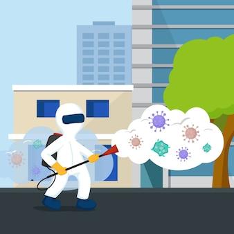 Ilustración de desinfección de virus