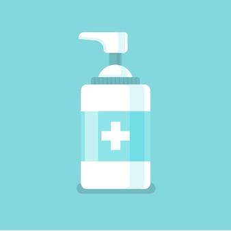 Ilustración de desinfectante de manos en diseño plano