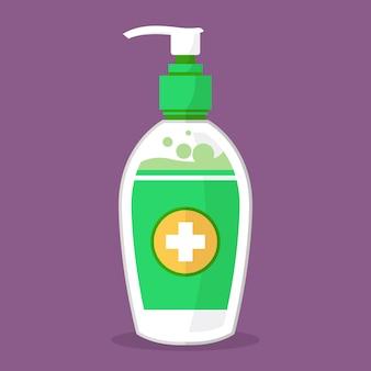 Ilustración de desinfectante de manos de diseño plano