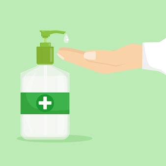 Ilustración de desinfectante de manos