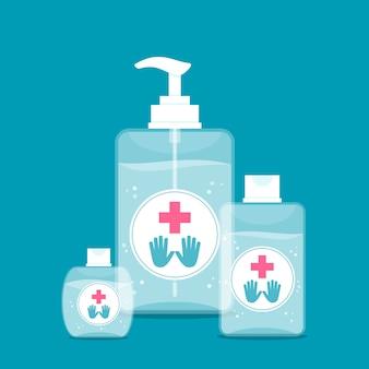 Ilustración con desinfectante para manos