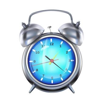 Ilustración de despertador del reloj plateado retro con campanas de metal.