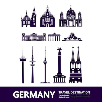 Ilustración de destino de viaje de alemania.