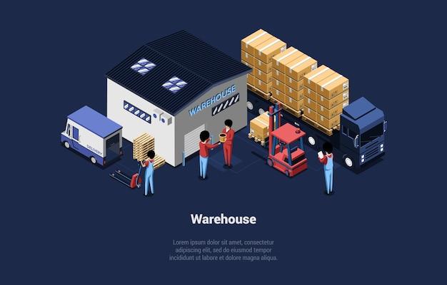 Ilustración detallada del almacén. composición isométrica en estilo de dibujos animados 3d.