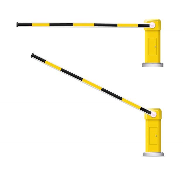 Ilustración detallada de una barrera de coche rayado negro y amarillo con señal de stop.