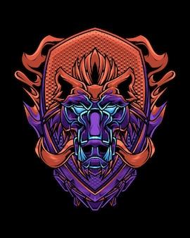 Ilustración detallada de cabeza de jabalí rojo púrpura