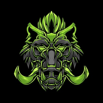Ilustración detallada de cabeza de jabalí verde oscuro