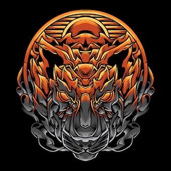 Ilustración detallada de la cabeza del tigre al atardecer