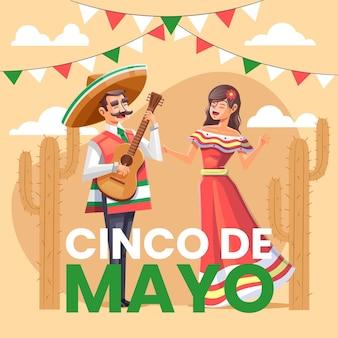 Ilustración detallada del cinco de mayo