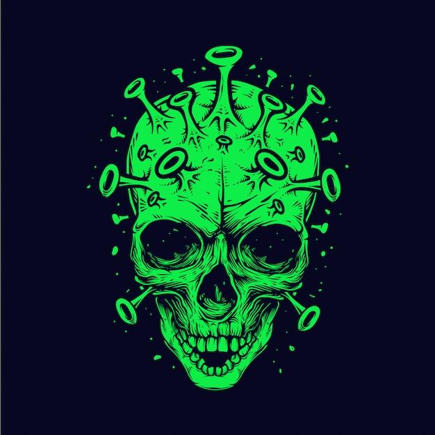 Ilustración detallada del cráneo de la corona