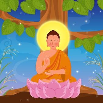 Ilustración detallada del día de makha bucha con monje y árbol
