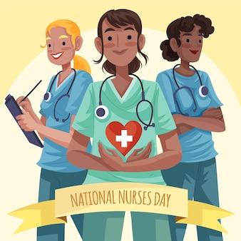 Ilustración detallada del día nacional de las enfermeras