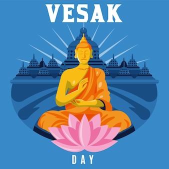 Ilustración detallada del día de vesak