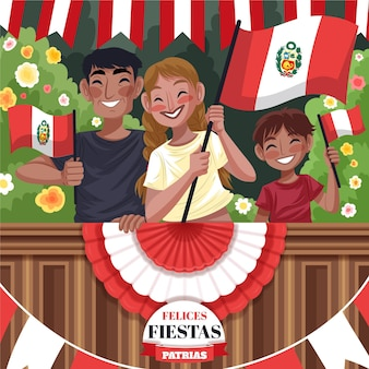 Ilustración detallada de las fiestas patrias de peru