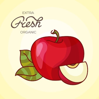 Ilustración de detallada gran manzana roja brillante
