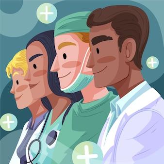 Ilustración detallada de médicos y enfermeras