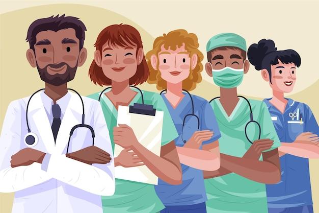 Ilustración detallada médicos y enfermeras.