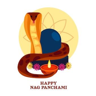 Ilustración detallada de nag panchami