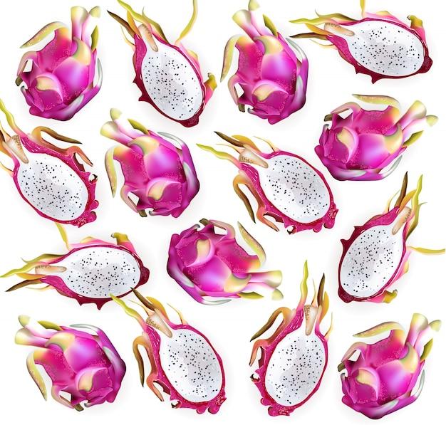 Ilustración detallada del patrón de la fruta del dragón