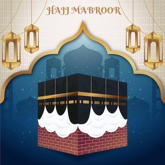 Ilustración detallada de peregrinación islámica hajj