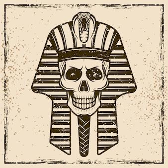Ilustración detallada de la vendimia de la cabeza del cráneo del faraón egipcio
