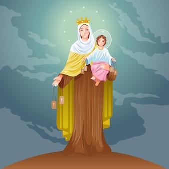 Ilustración detallada de virgen del carmen