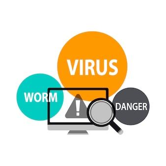 Ilustración de detección de virus.