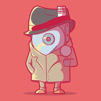 Ilustración de detective de disco duro.