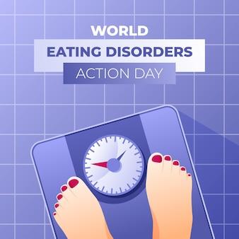 Ilustración del día de acción de los trastornos alimentarios del mundo degradado