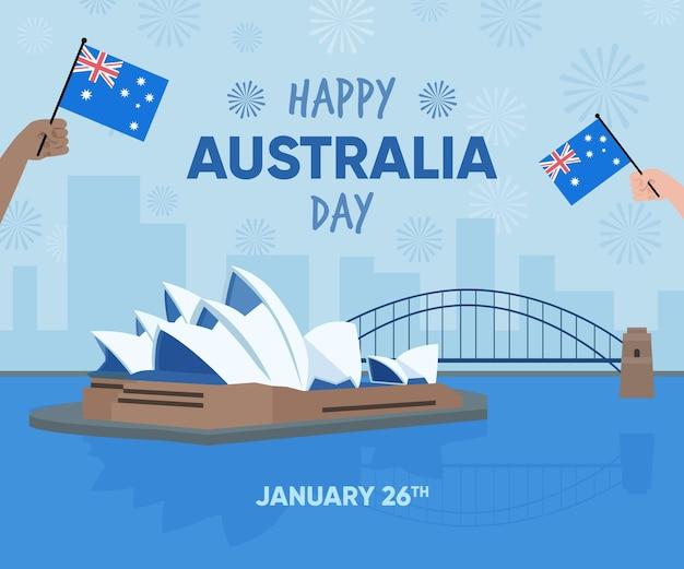 Ilustración del día de australia en diseño plano