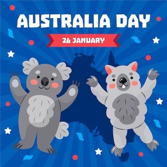 Ilustración del día de australia de diseño plano
