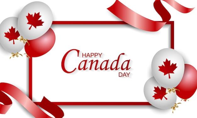 Ilustración del día de canadá, bandera canadiense y hojas de arce, rojo y blanco