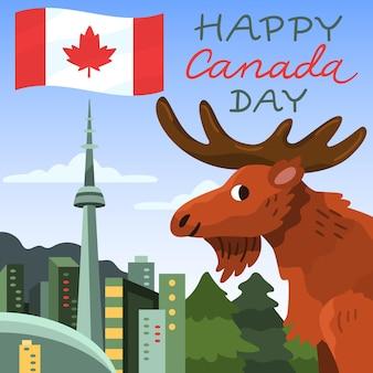 Ilustración del día de canadá de dibujos animados