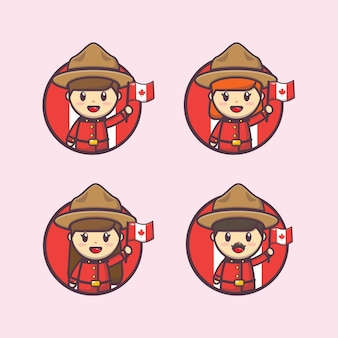 Ilustración del día de canadá con lindo personaje avatar