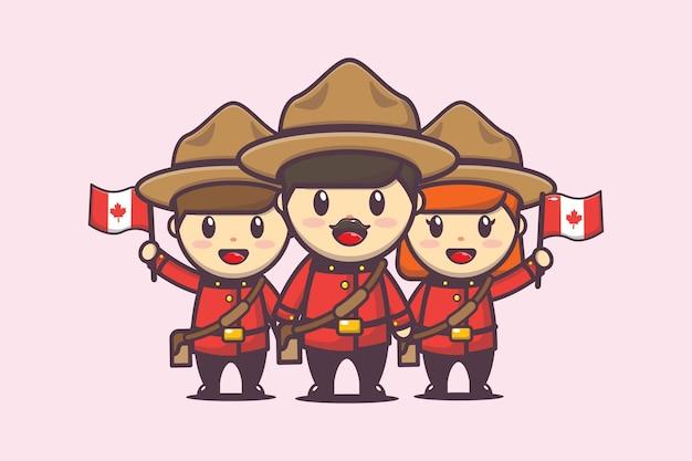 Ilustración del día de canadá con personaje lindo