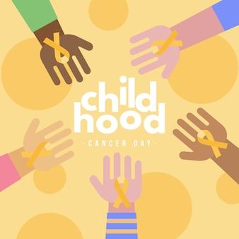 Ilustración del día del cáncer infantil con manos sosteniendo cintas