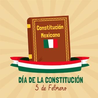 Ilustración del día de la constitución de méxico con libro