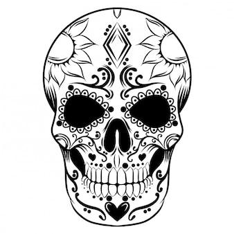 Ilustración de un día de cráneo muerto lleno de flores ornamentadas