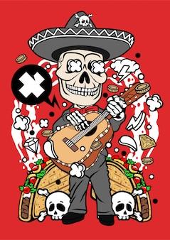 Ilustración del día del cráneo muerto