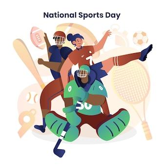 Ilustración del día del deporte nacional indonesio degradado