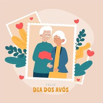 Ilustración de dia dos avos con abuelos