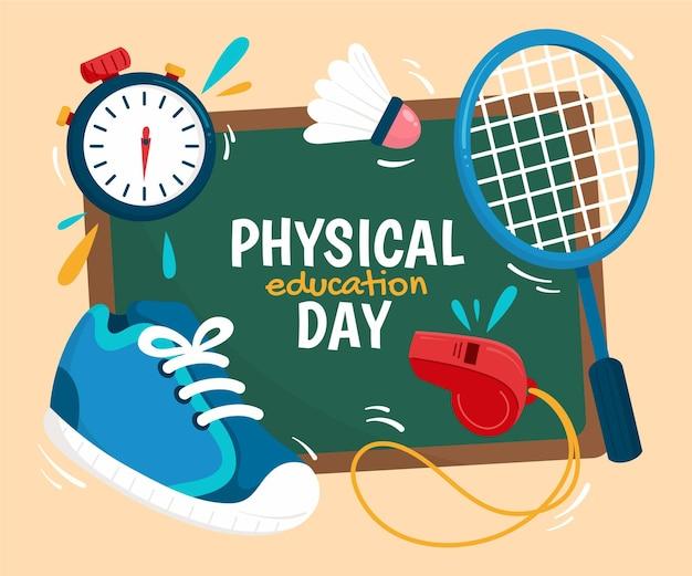 Ilustración del día de la educación física de dibujos animados