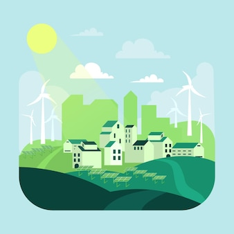 Ilustración del día del hábitat con ciudad verde