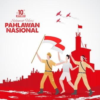 Ilustración del día de los héroes pahlawan de diseño plano