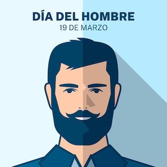 Ilustración de dia del hombre con hombre barbudo