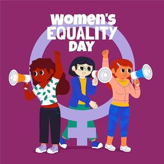Ilustración del día de la igualdad de las mujeres de dibujos animados