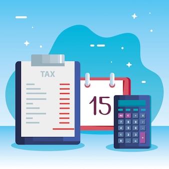 Ilustración del día de impuestos con calculadora y calendario