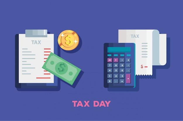 Ilustración del día de impuestos con calculadora y documento