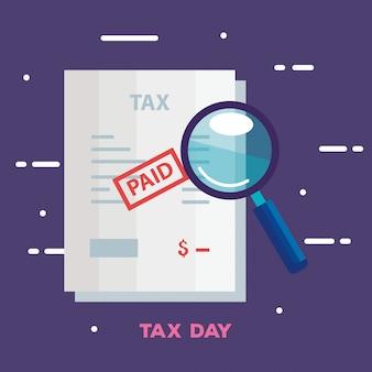 Ilustración del día de impuestos con documento y lupa